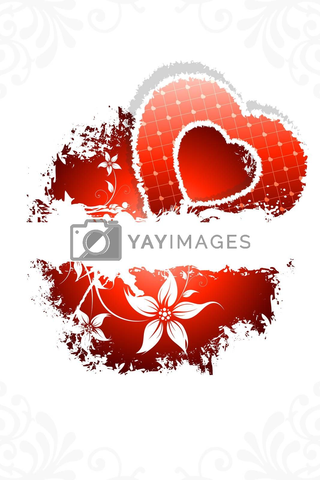 Grunge Valentines day background with Heart and flowers