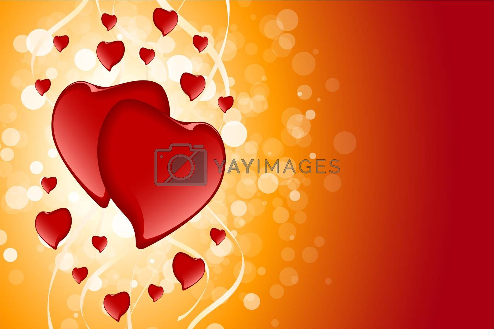 Abstract Valentines Day Card Template with Hearts and sparkle