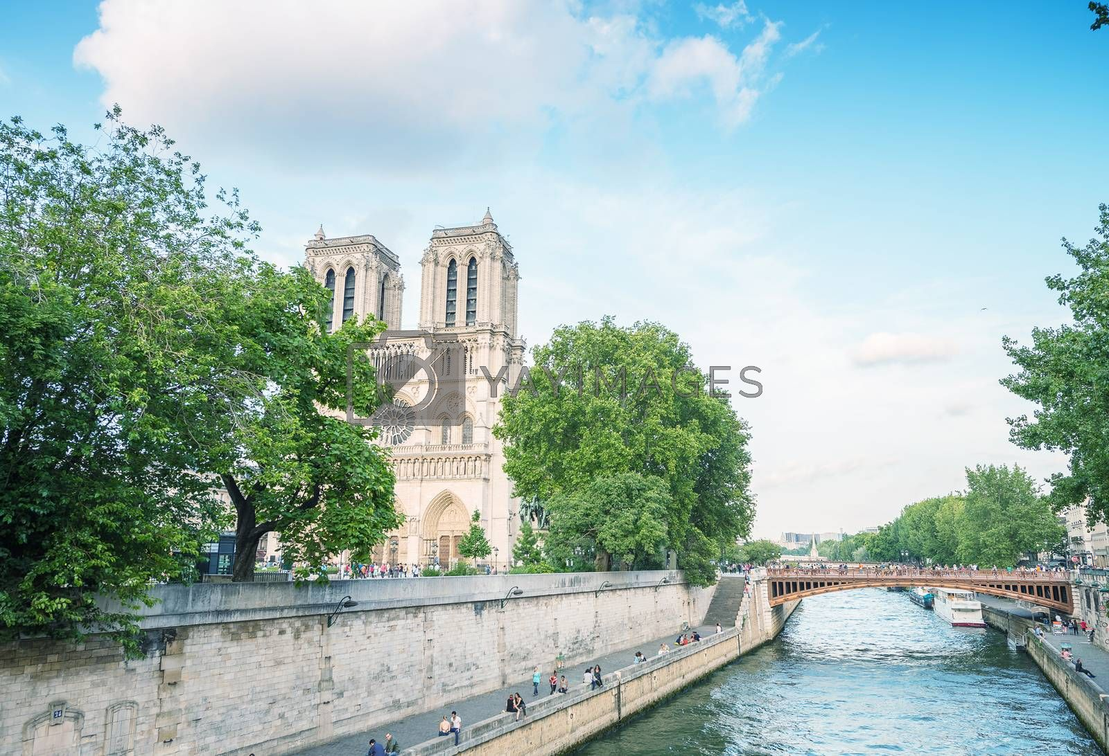 Notre Dame cathedral in Paris on a beautiful summer day.