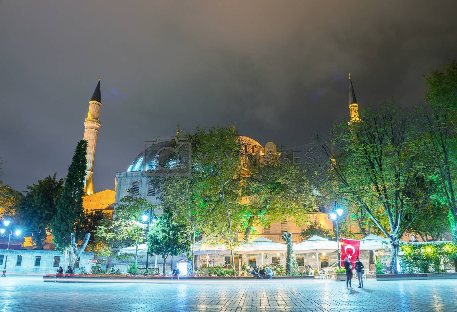 Hagia Sophia Museum at night, Istanbul.