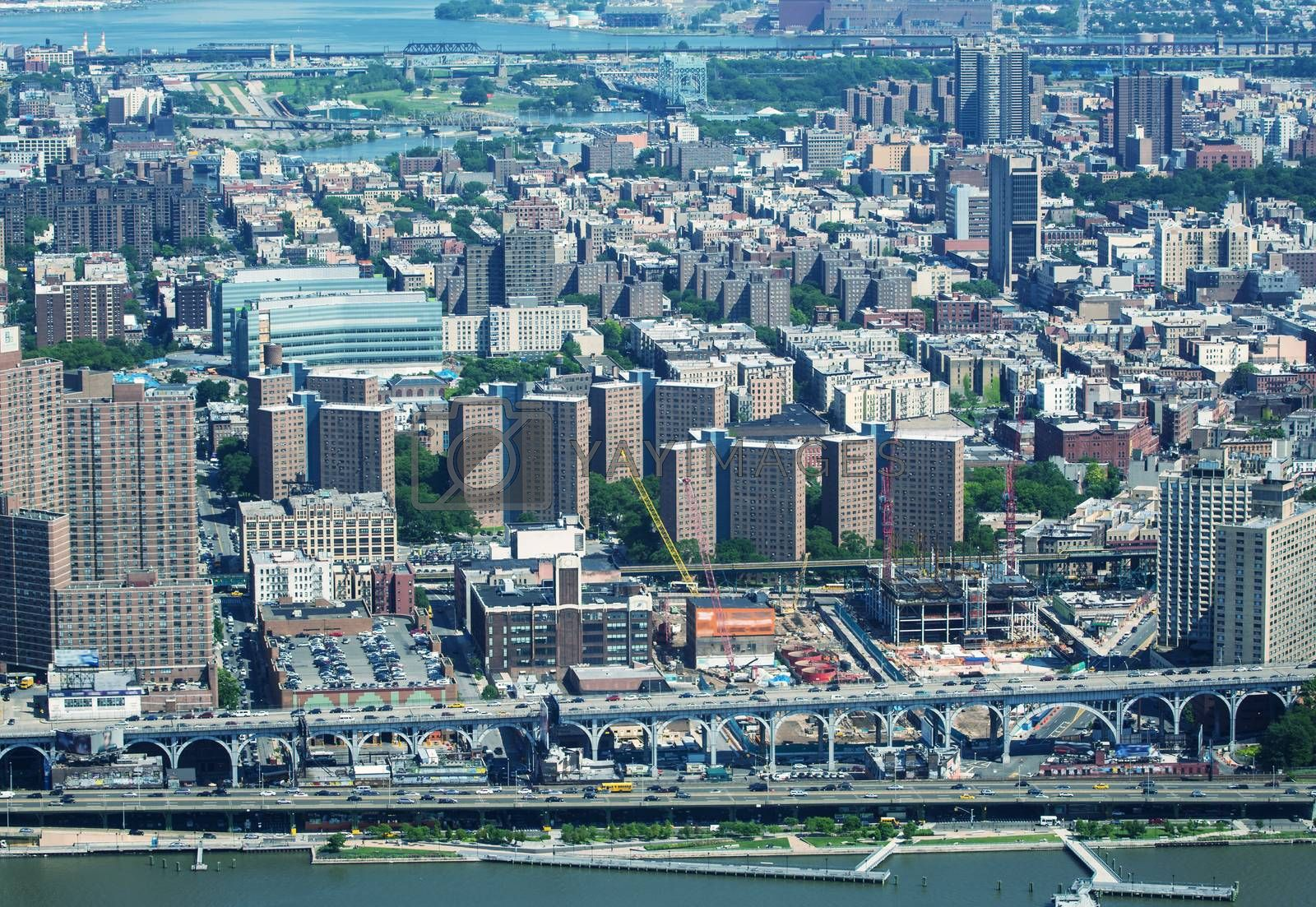 Manhattan west side. Aerial view from helicopter.
