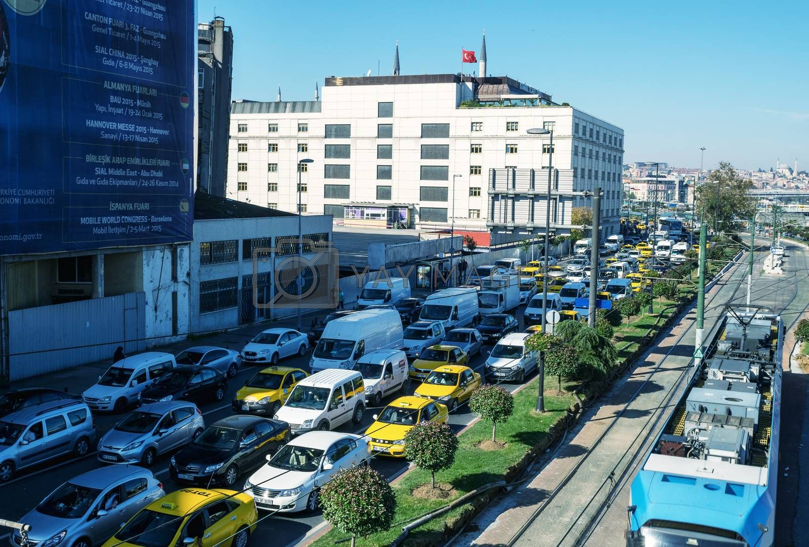 ISTANBUL - SEPTEMBER 17, 2014: Heavy traffic in the port area. Traffic is a major issue in the huge city of Istanbul.