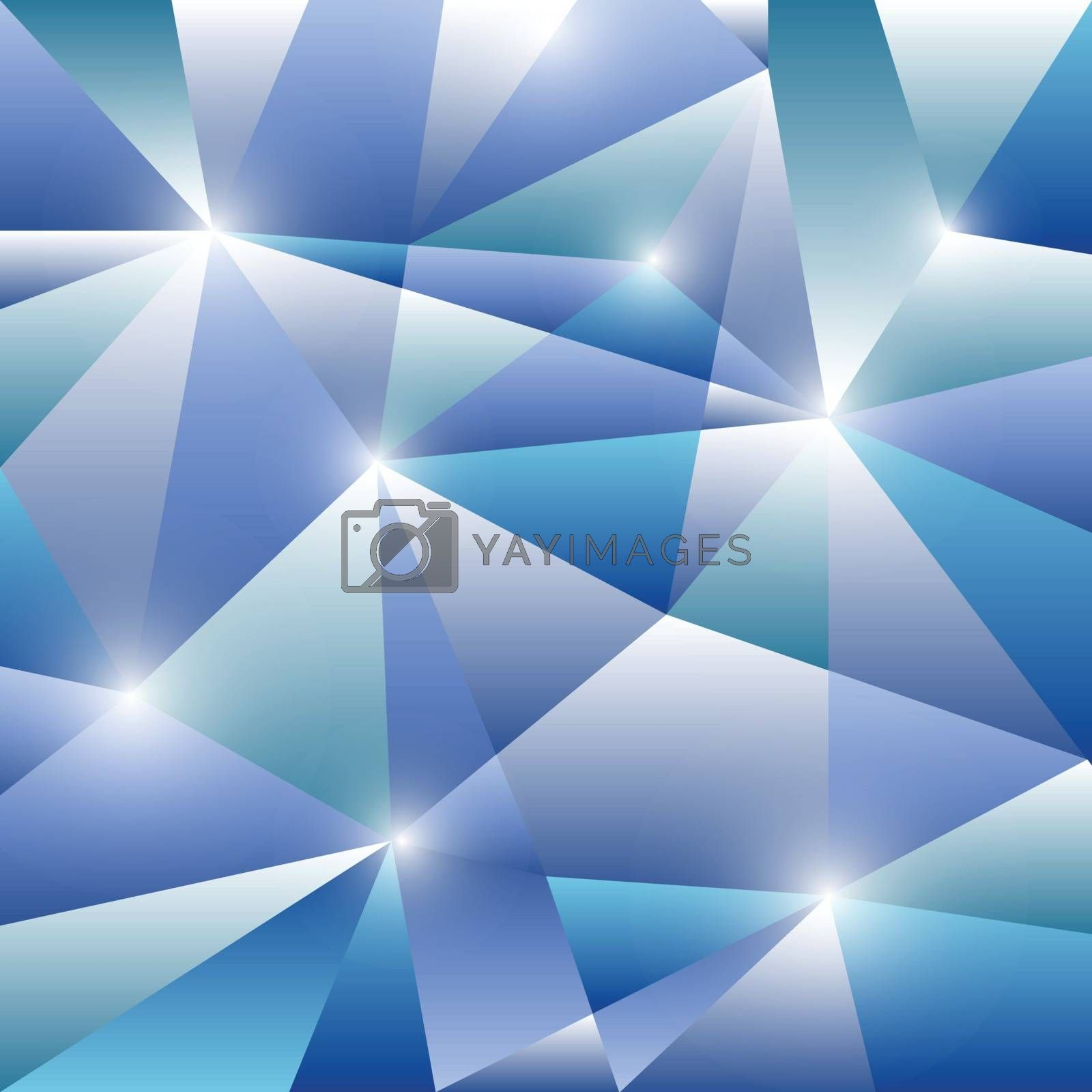 Geometric pattern with blue triangles background, stock vector