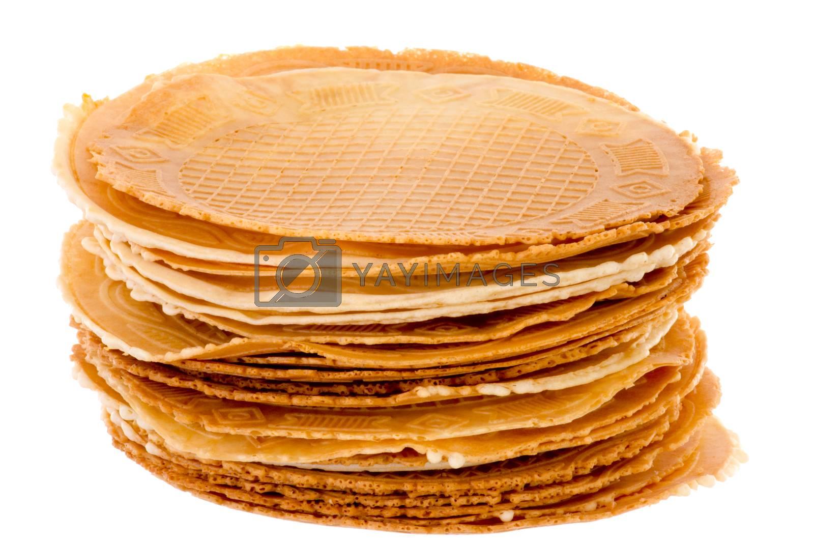 Pack of freshly waffle cookies brightened