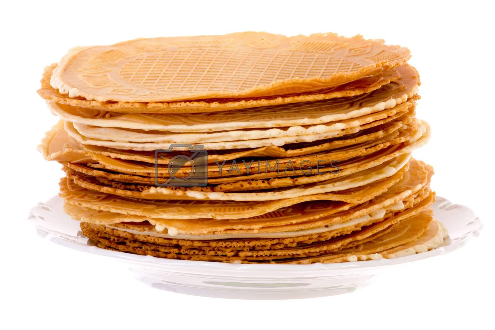 Pack of fresh baked krumkakes brightened