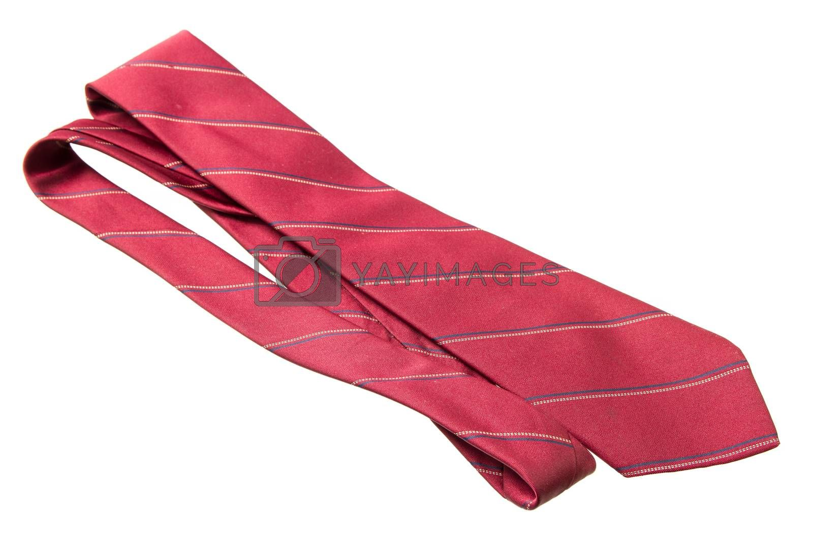 red with strips business neck tie isolated on white background