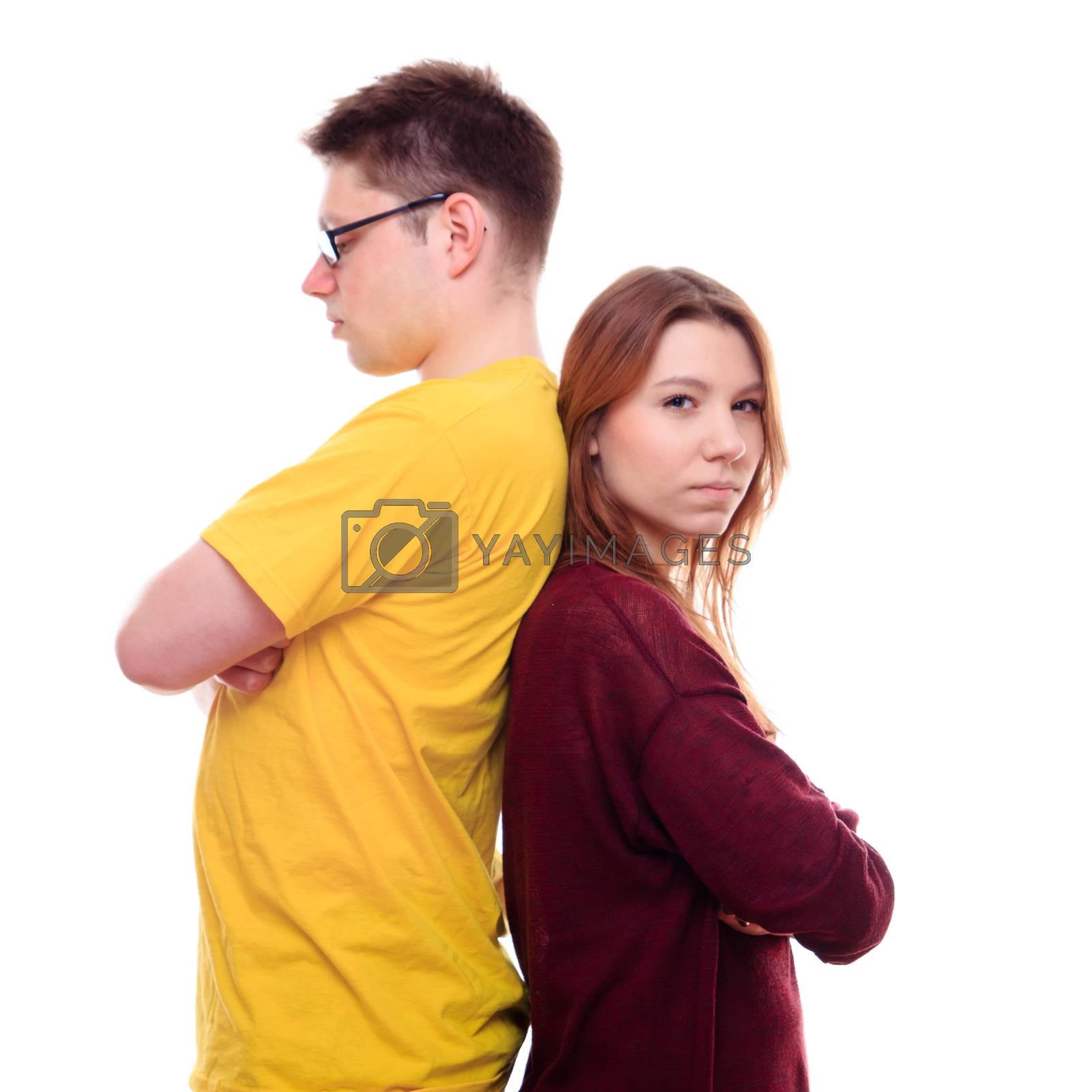 Boy and Girl Stand Back to Back - studio shoot