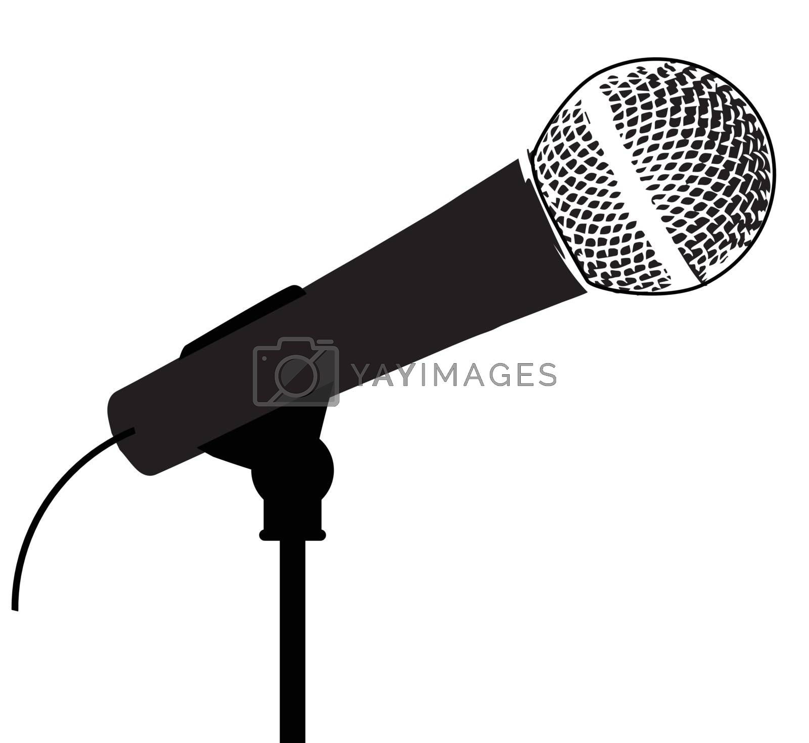 A typical live vocal microphone isolated on white