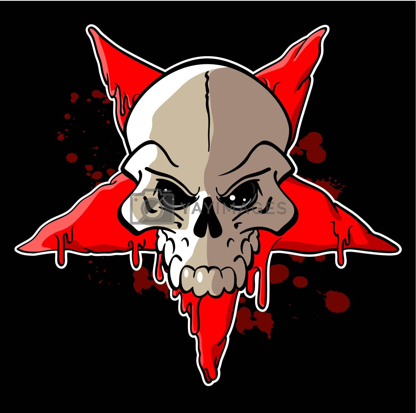 Skull on inverted red star on a black background