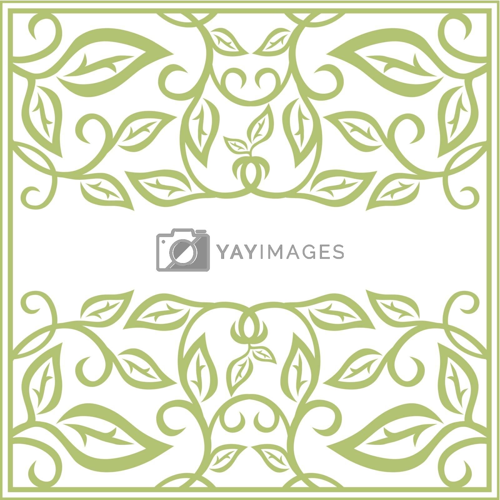 Abstract Leaf Green Floral Frame With Copyspace