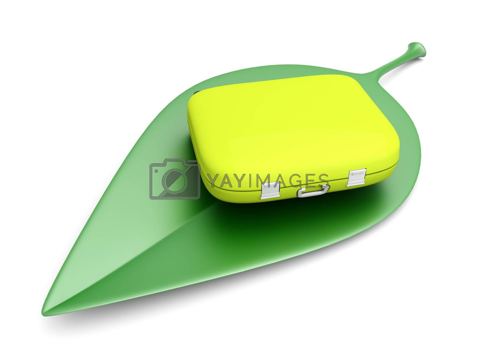 Sustainable air travelling. 3D rendered Illustration. Isolated on white.