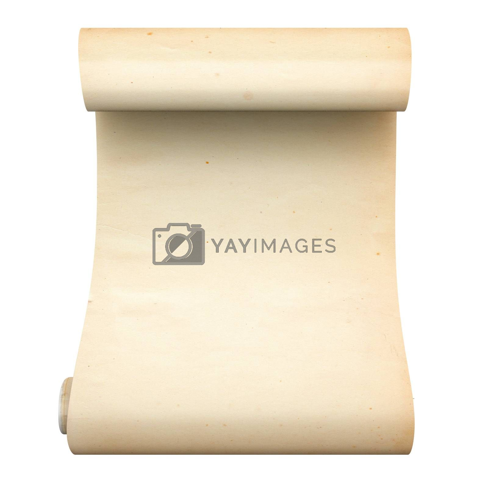 An ancient scroll. 3D rendered Illustration. Isolated on white.
