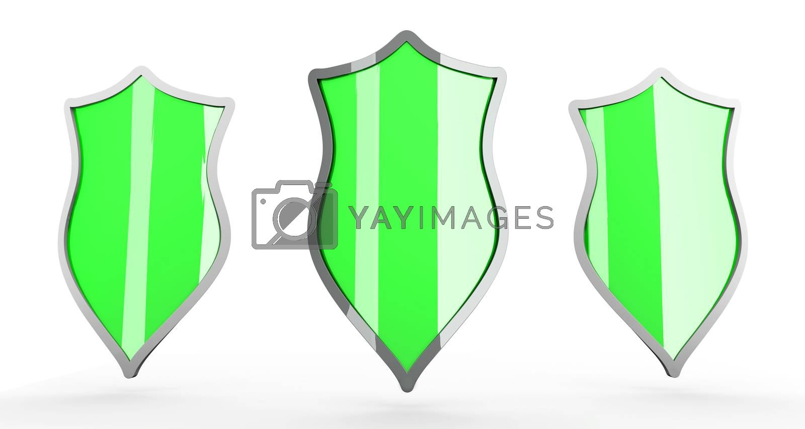 Three Shields for protection. 3D rendered Illustration. Isolated on white.