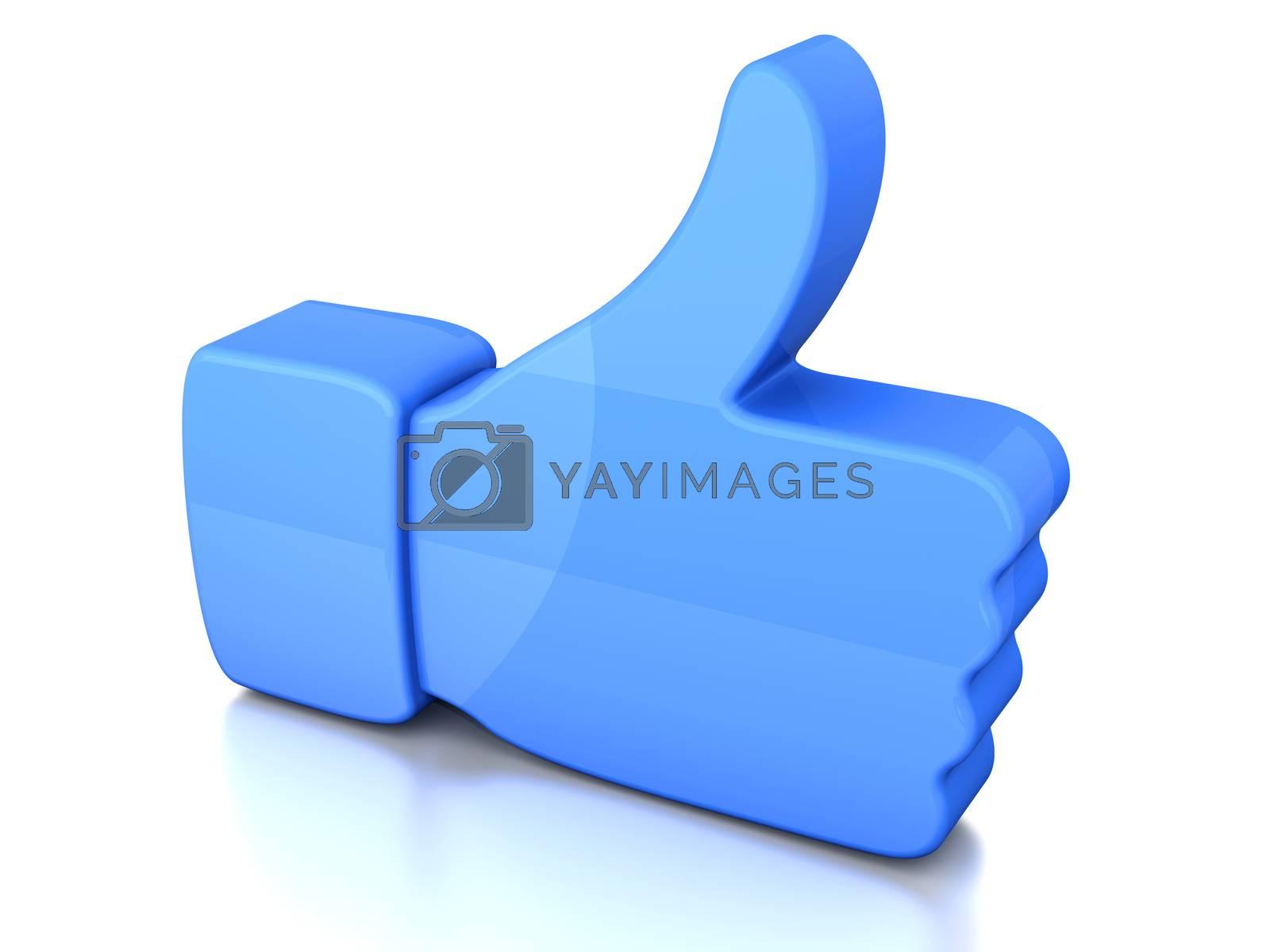 A symbolic thumb up. 3D illustration.