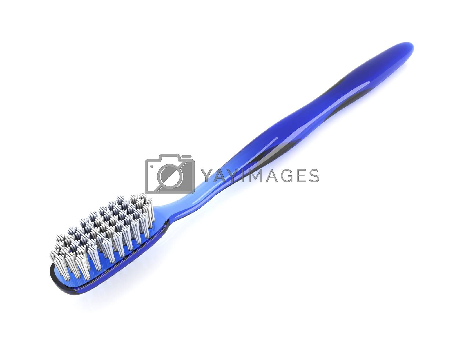 A blue toothbrush. 3D rendered Illustration. isolated on white.