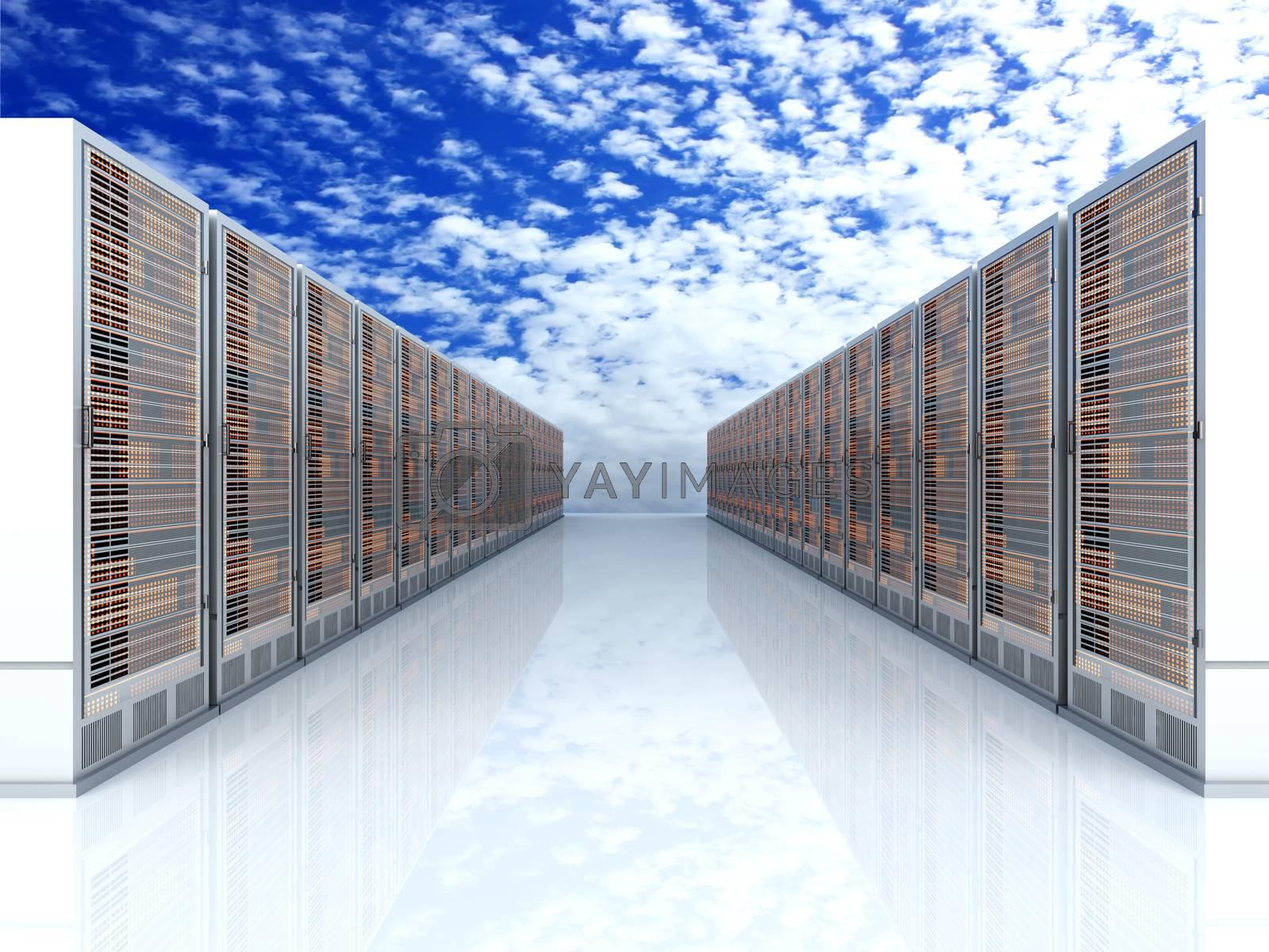 Server racks in a row. 3d illustration.