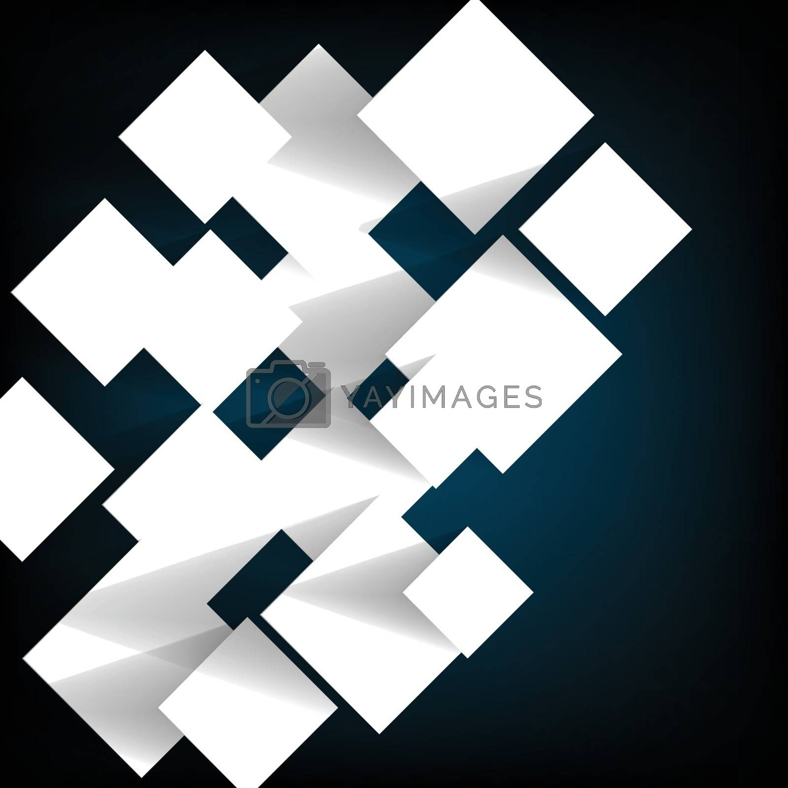 Paper square banner with shadow background, stock vector