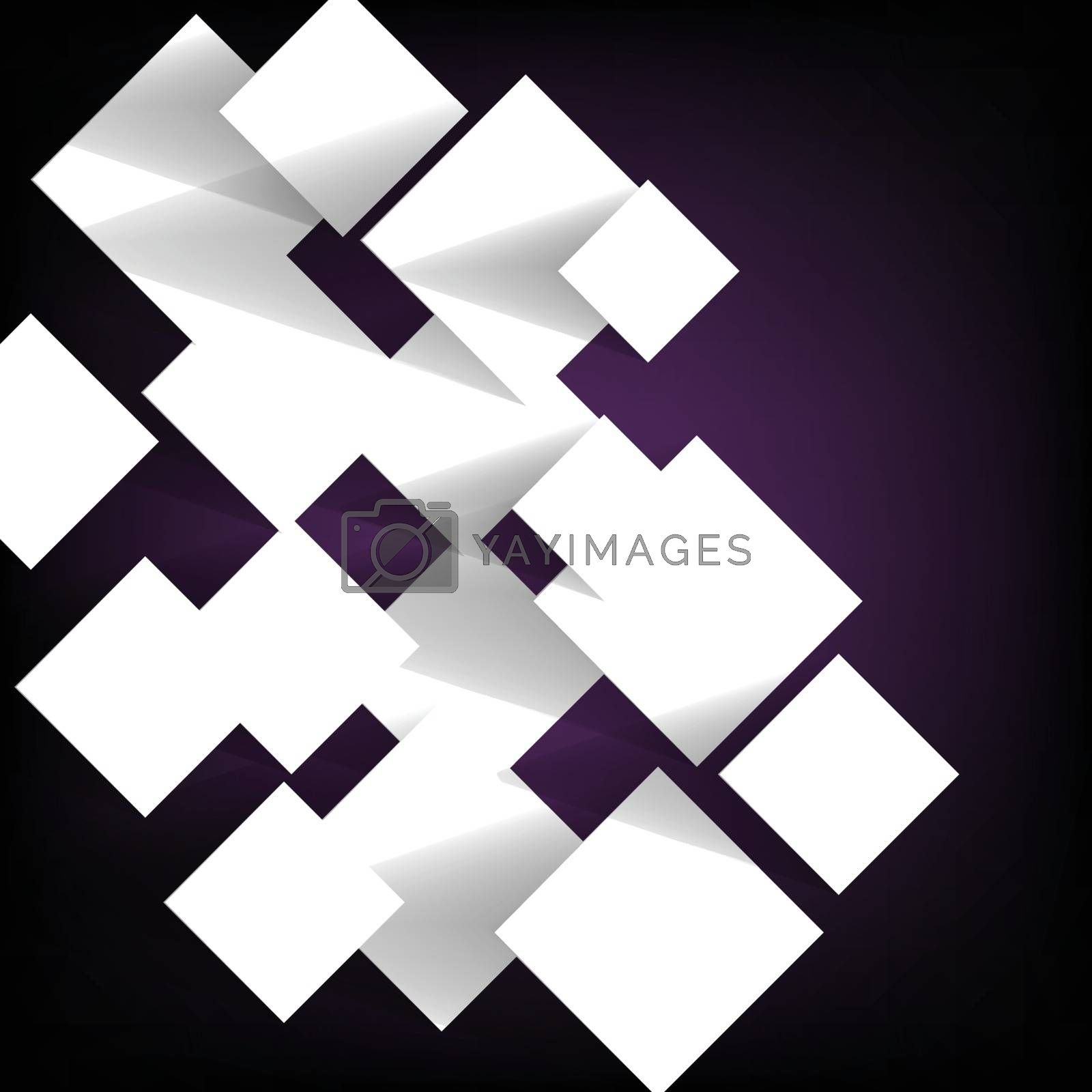 Paper square banner on violet background, stock vector
