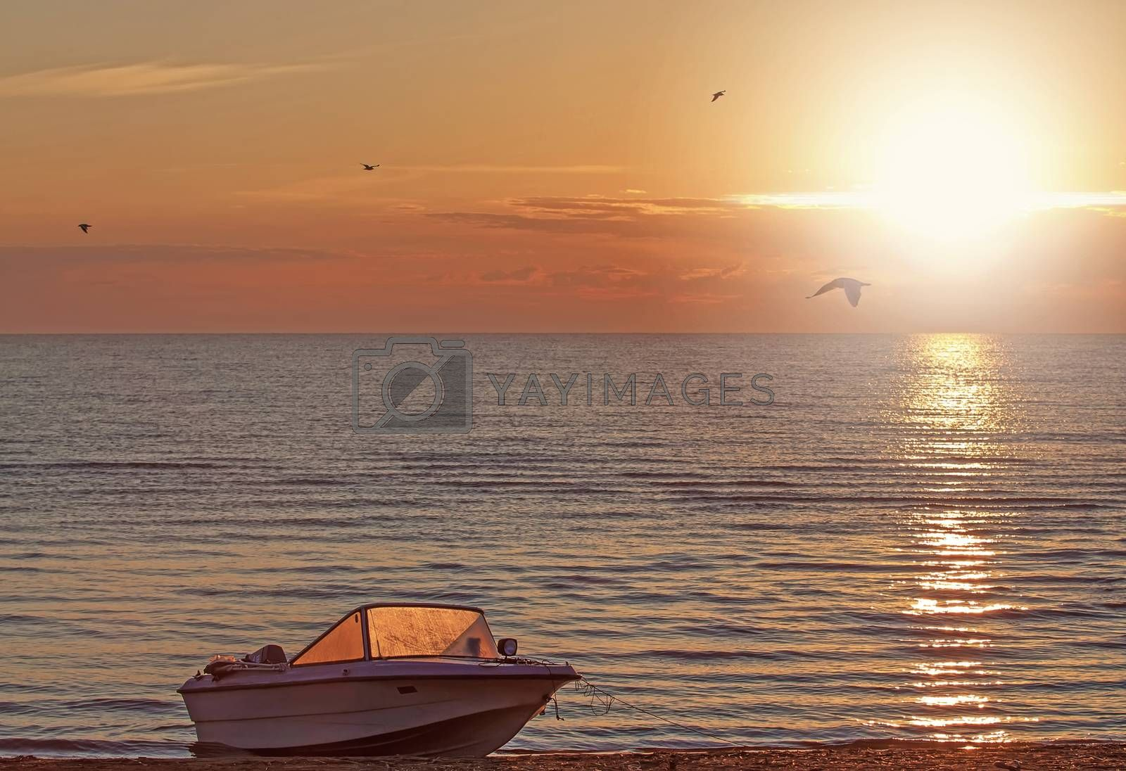 Beautiful sunrise on Ladoga Lake, Russia, in summer