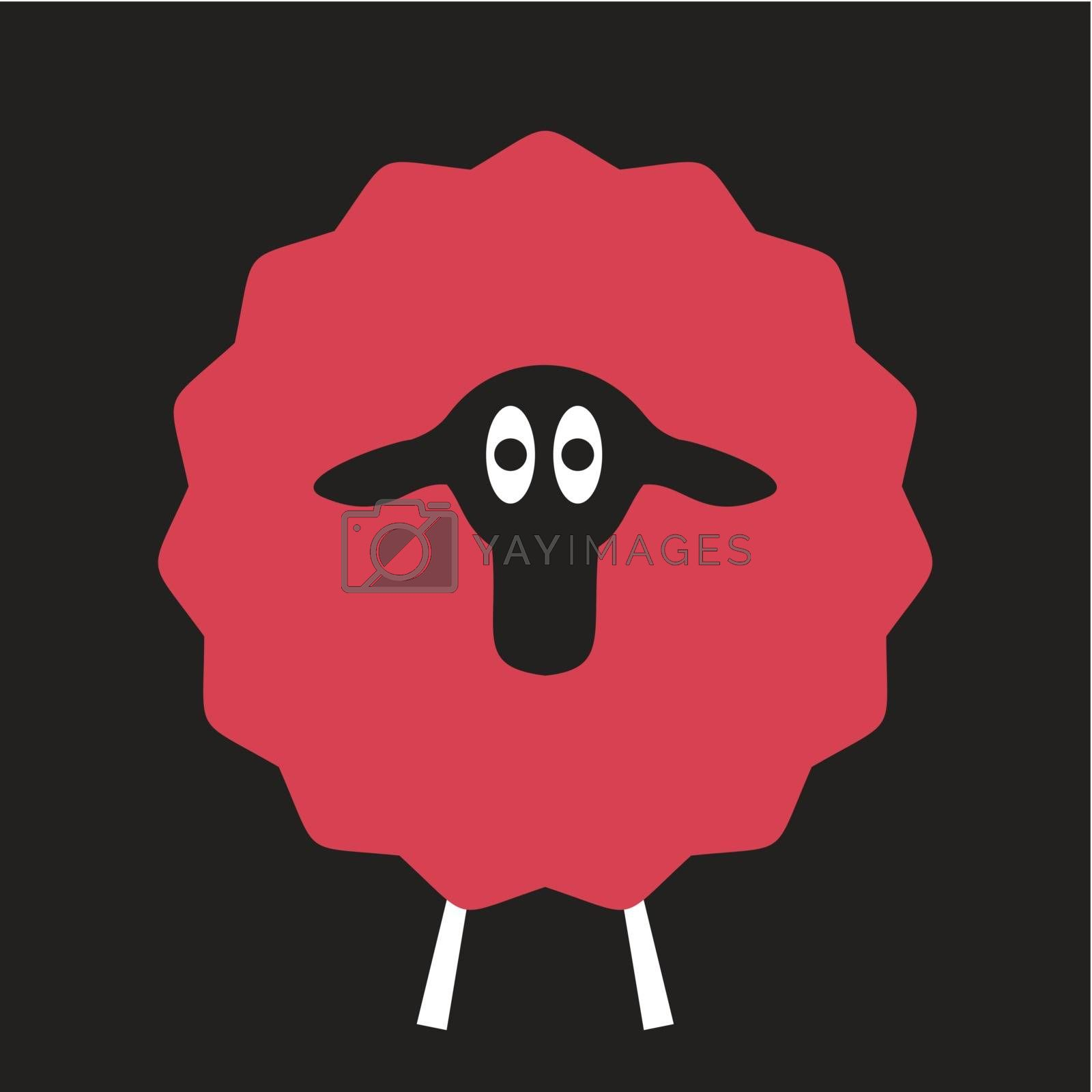 red sheep on a black background