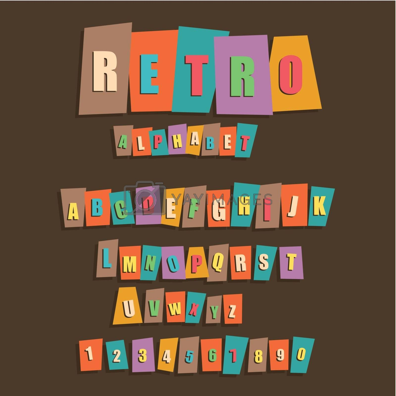 Retro the English alphabet. Vector illustration