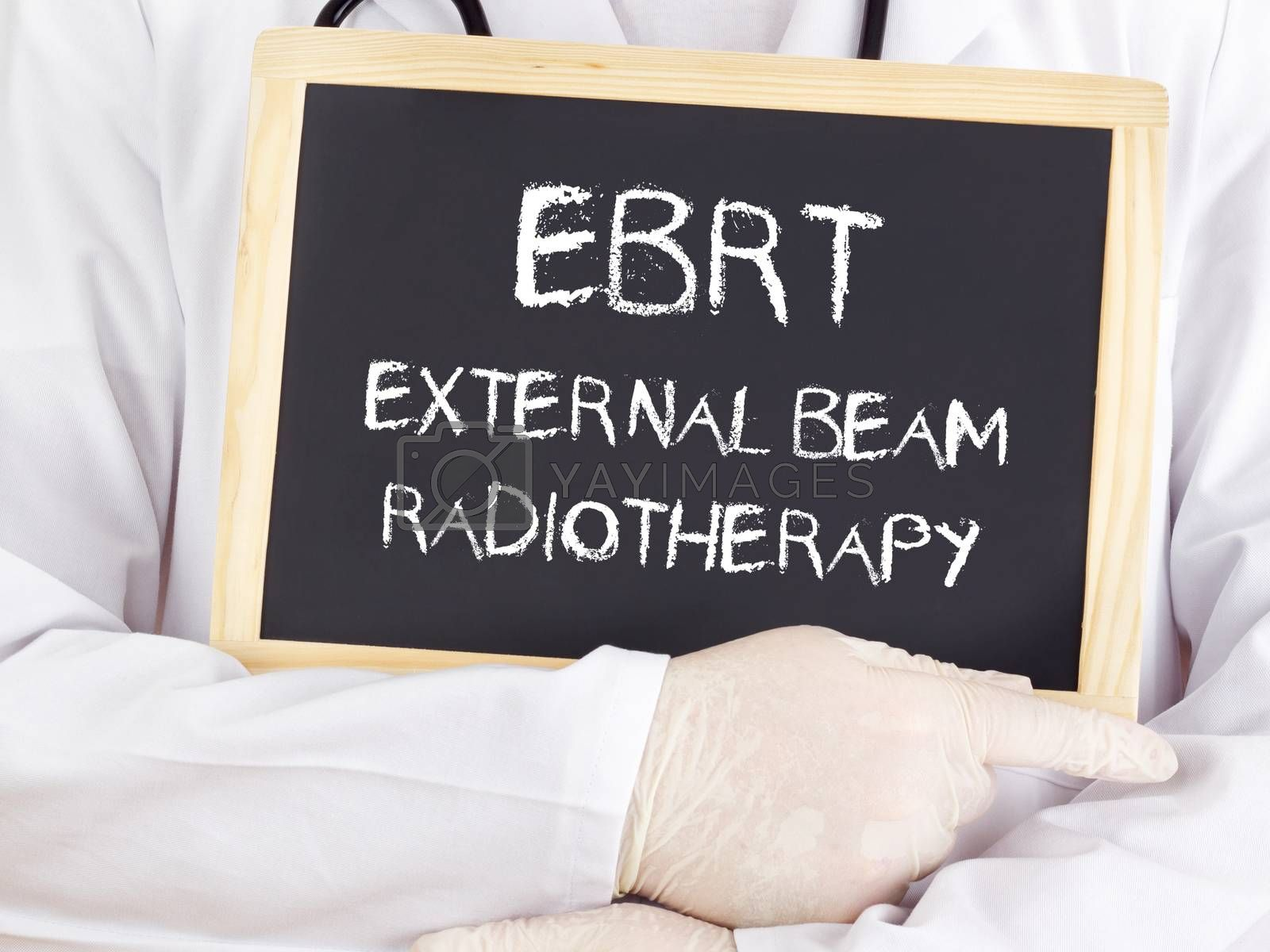 Doctor shows information: EBRT external beam radiotherapy