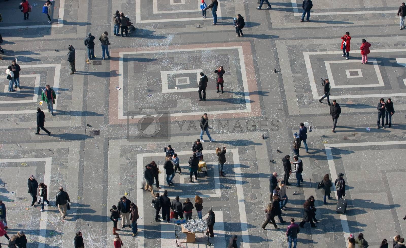 MILAN, ITALY - FEBRUARY, 13: Top view of people in the Piazza Duomo from Milan cathedral on February 13, 2010