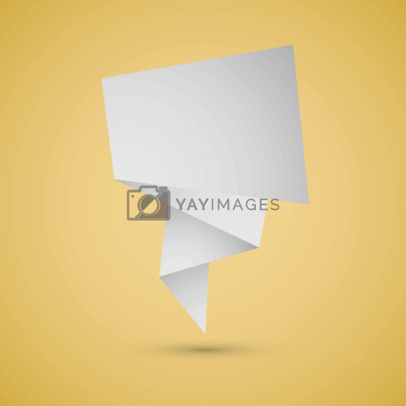 Abstract origami speech background on yellow background, stock vector