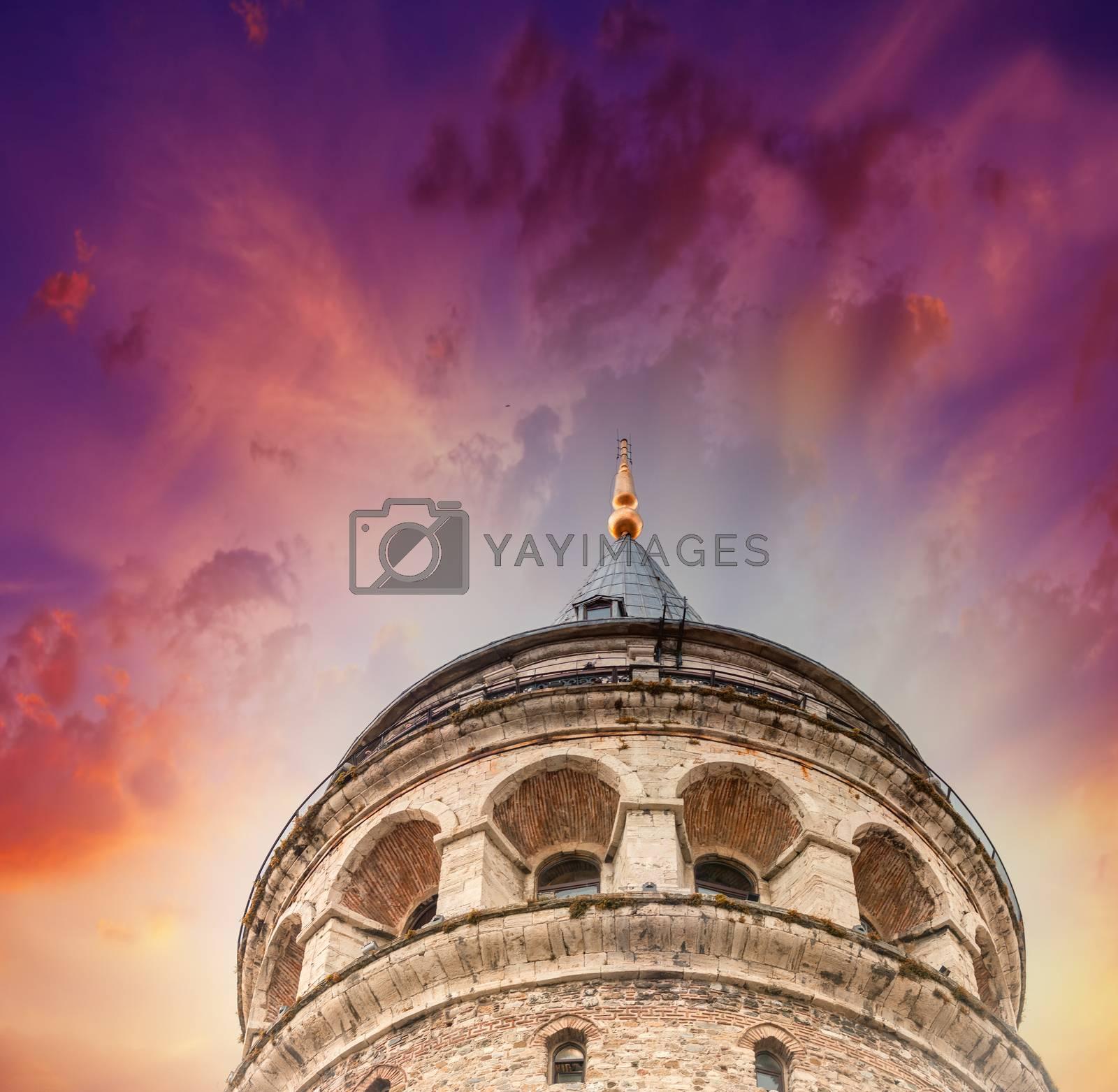 The Galata Tower, ancient building in Beyoglu, Istanbul - Turkey.