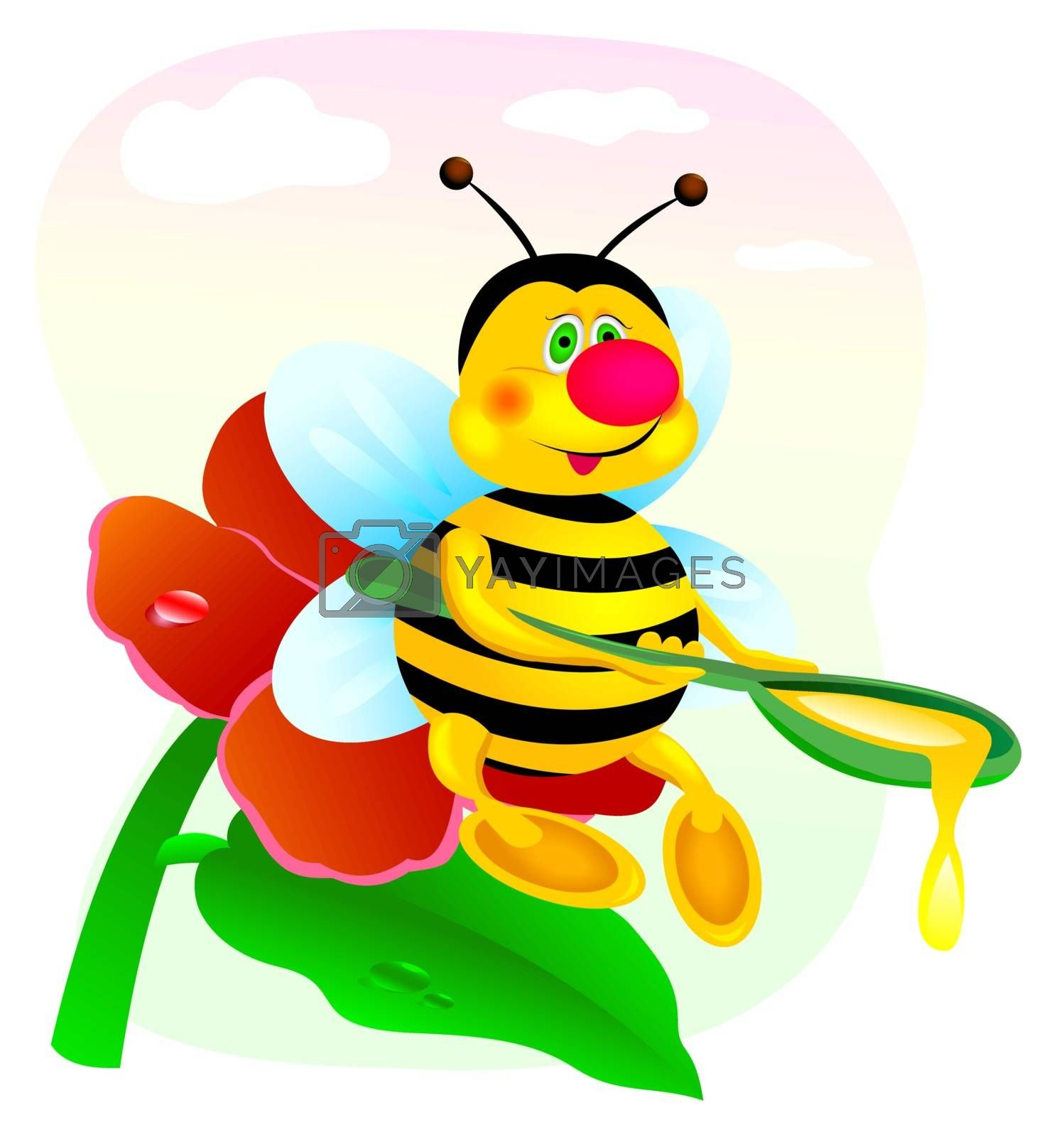 Bee sitting on a red flower with a spoonful of honey in his hands.