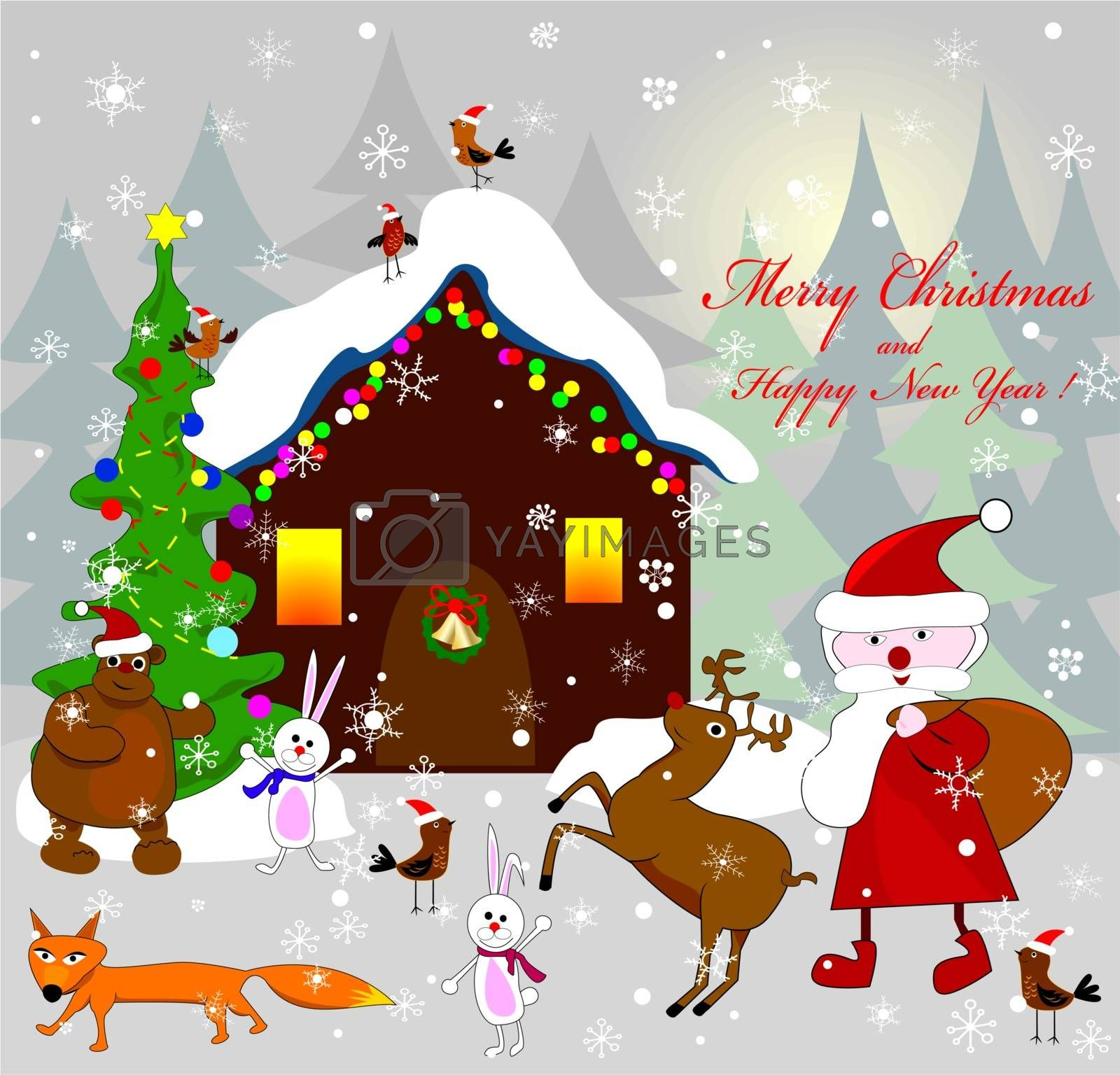 Santa Claus, as well as various animals on the background of the house on the night of Christmas.