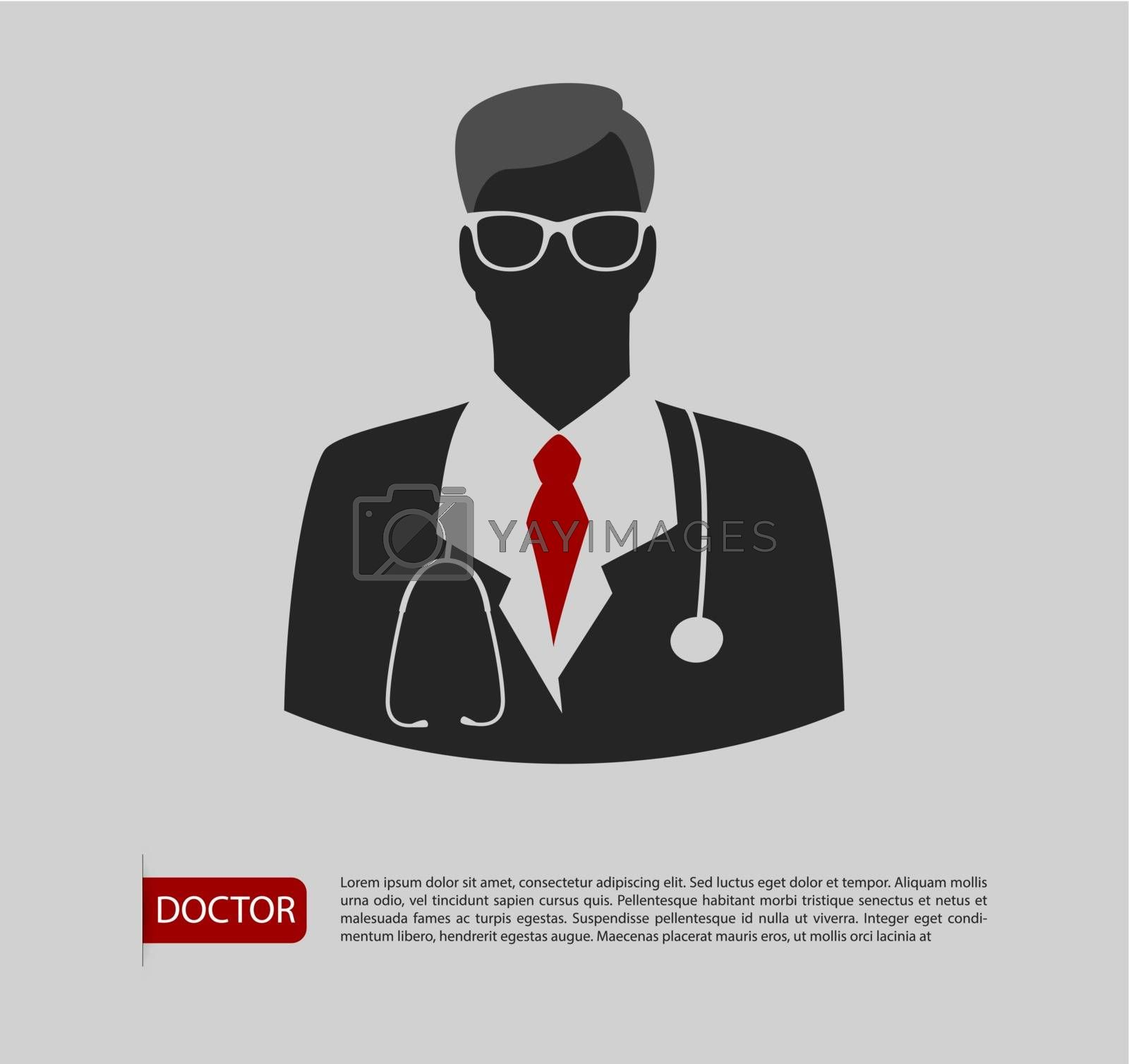 Vector illustration of Doctor man icon 2 colors