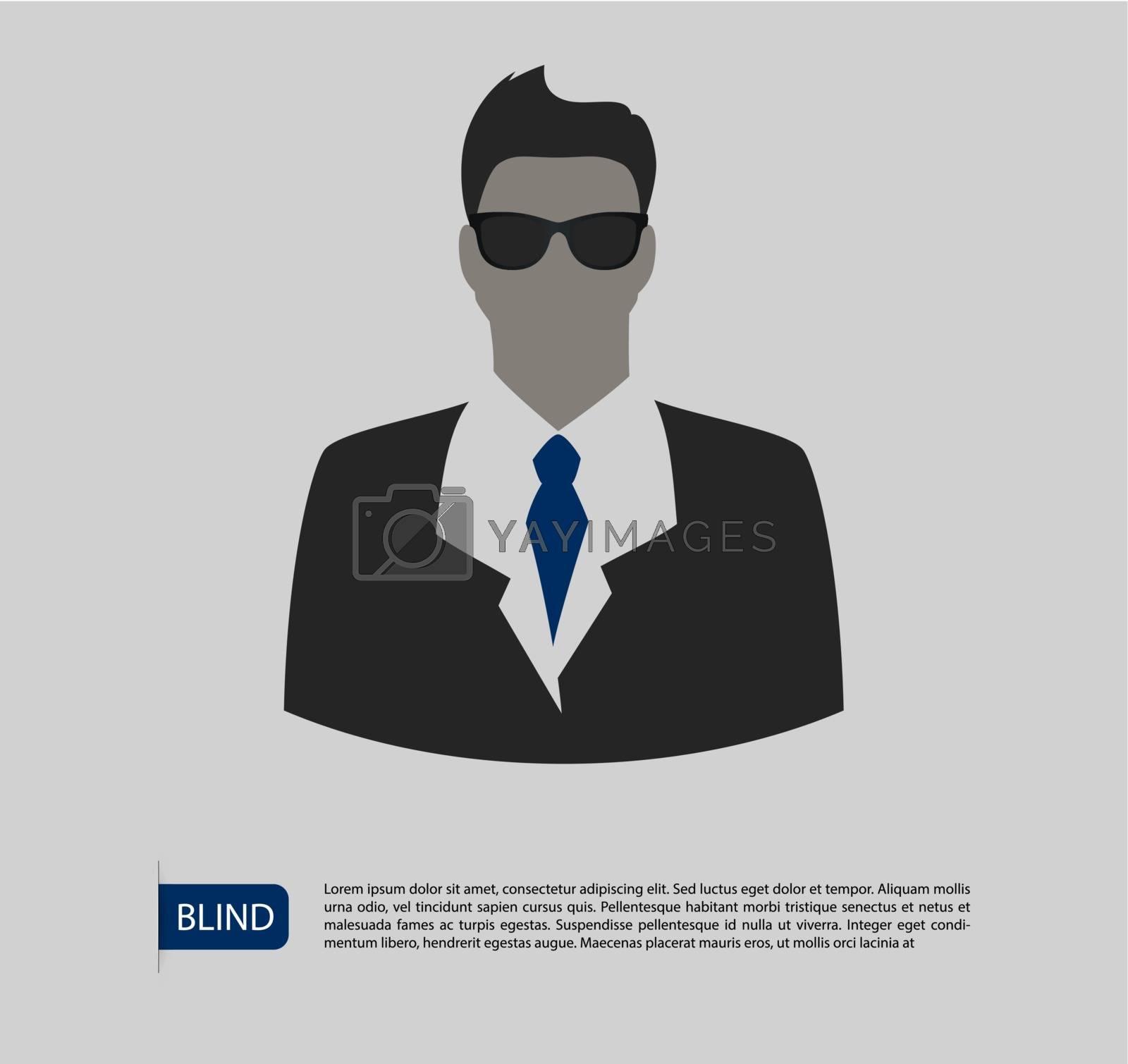 Vector illustration of Blind man silhouette image