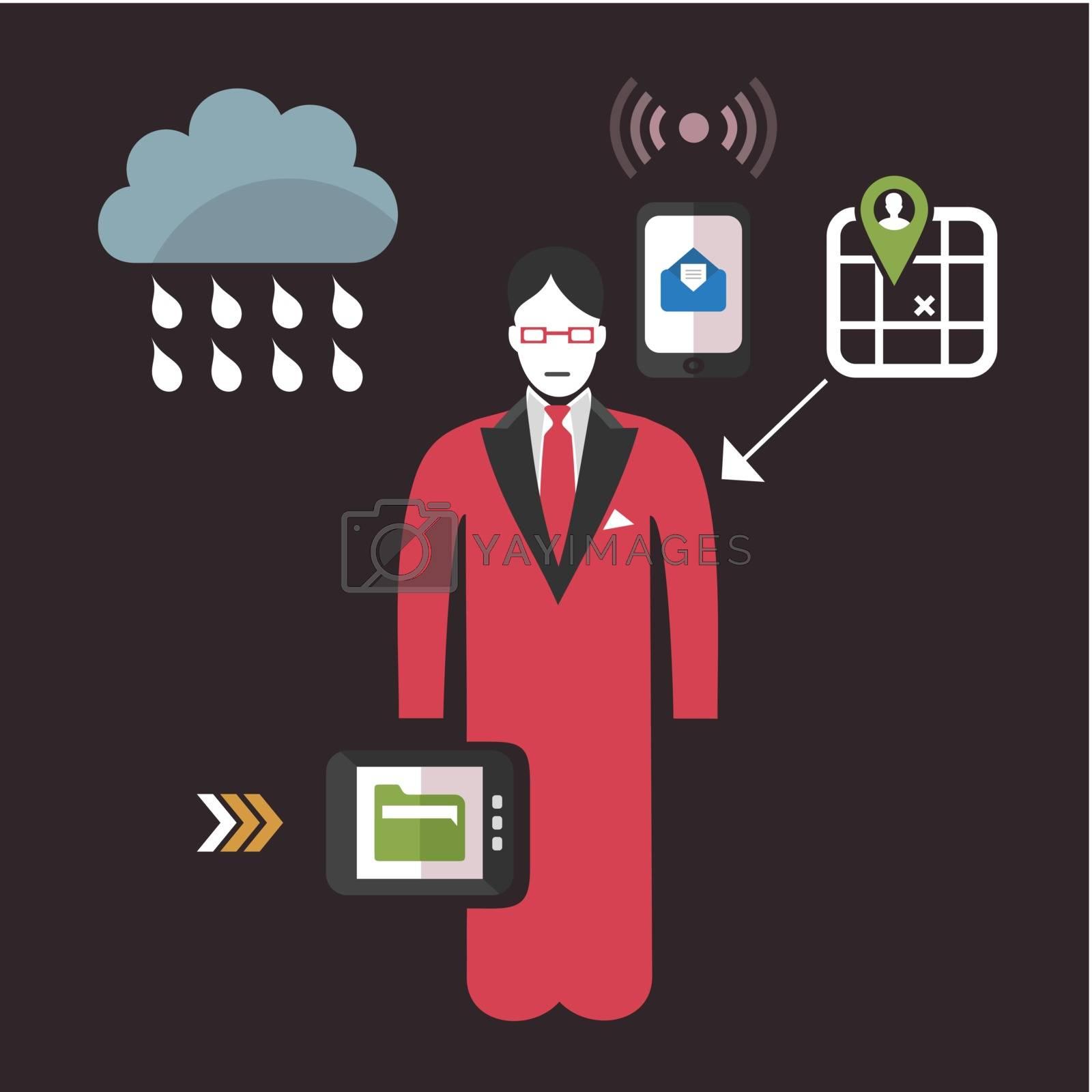 Online business commerce. A vector illustration