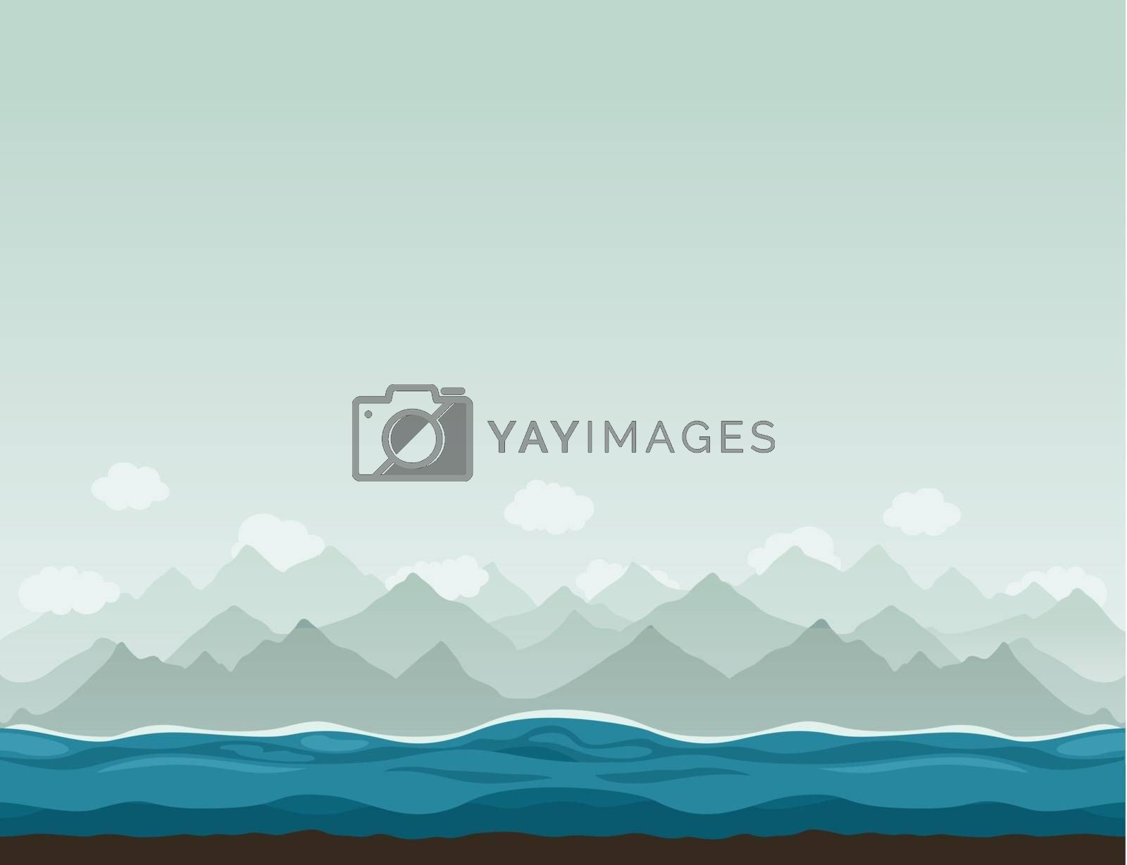 The sea against mountains. A vector illustration