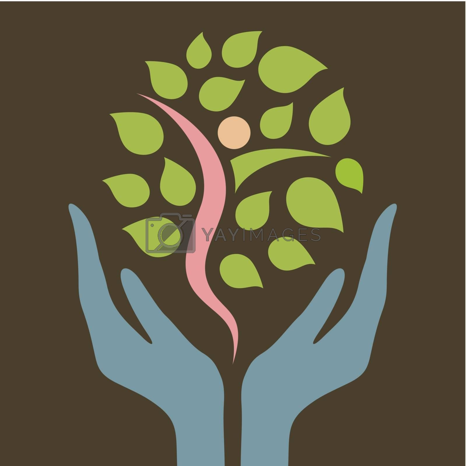 Hands hold a tree. A vector illustration
