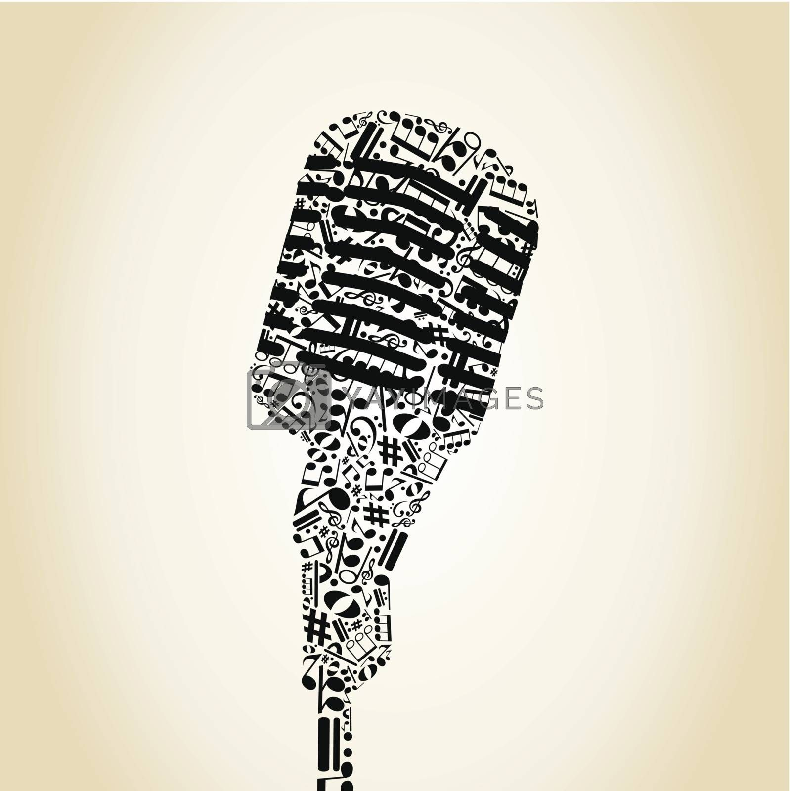 Microphone made of notes. A vector illustration