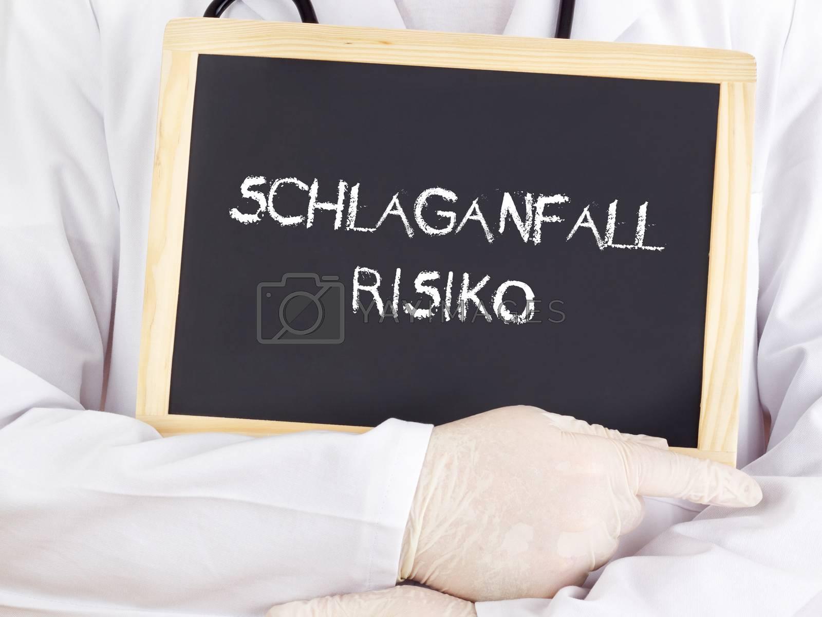 Doctor shows information: stroke risk in german language