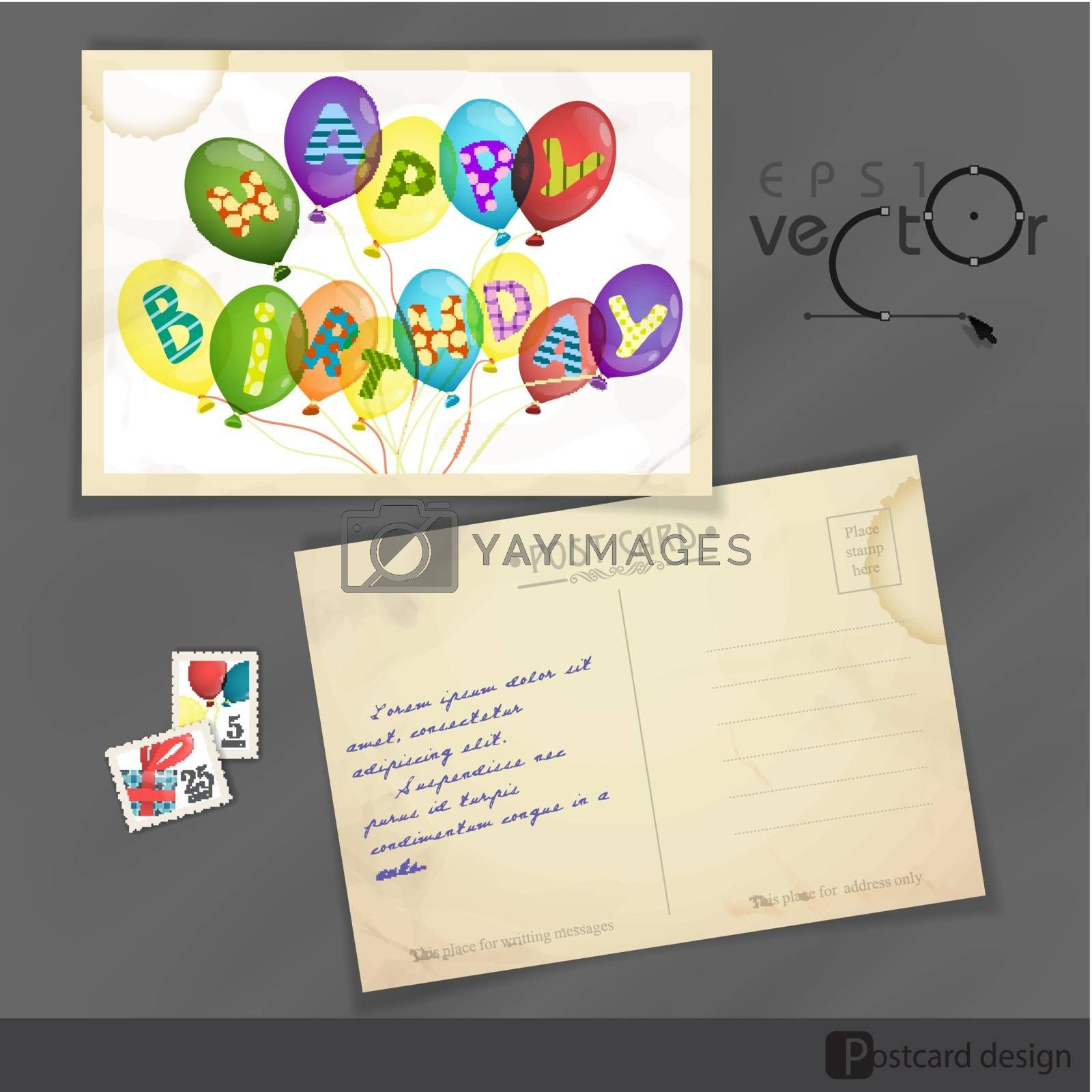 Colorful Birthday Background. Old Postcard Design, Template. Vector Illustration