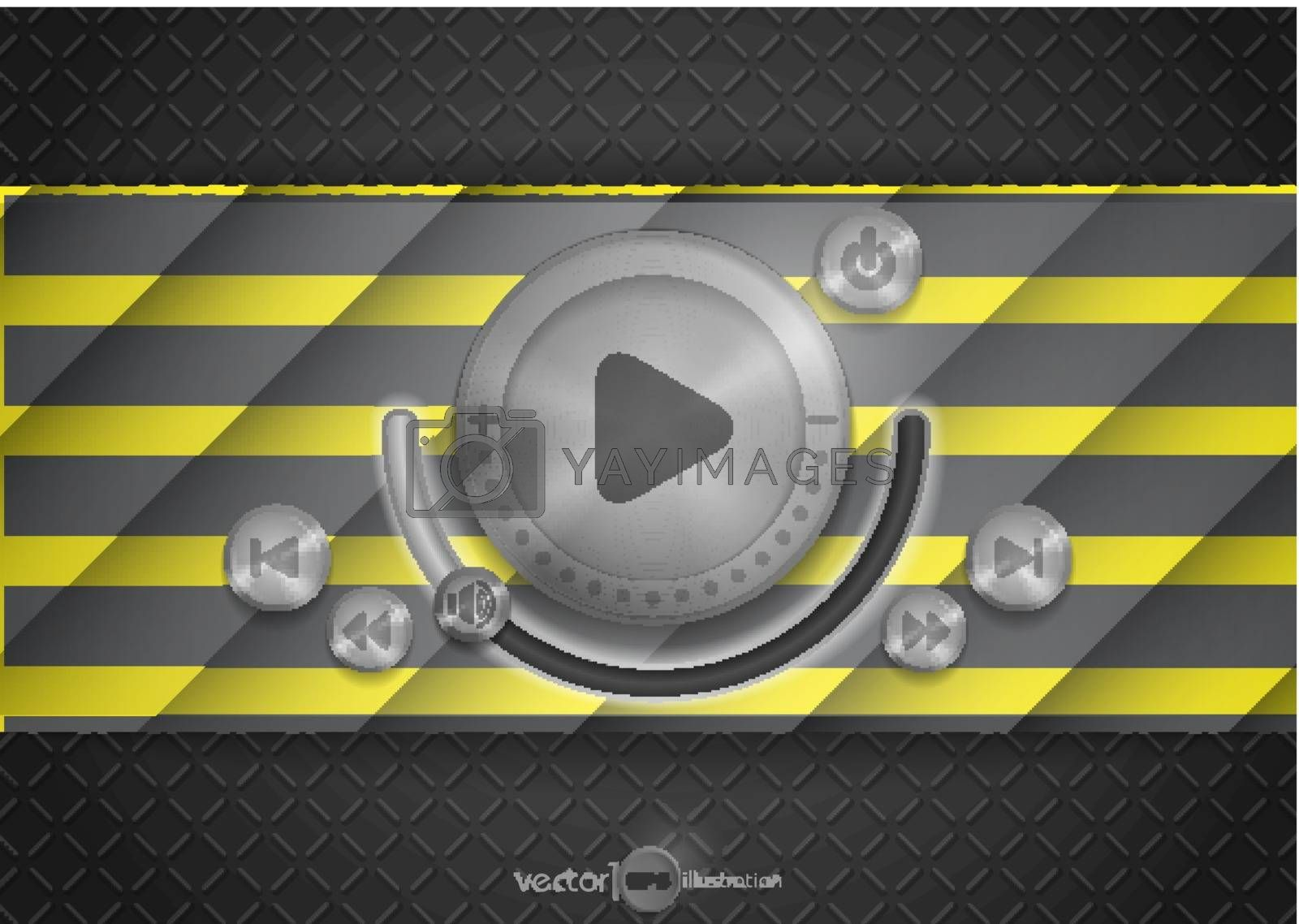Abstract Technology App Icon With Music Button. Vector Illustration. Eps 10.