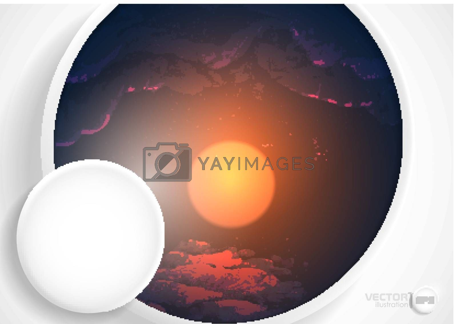 Abstract Background With White Paper Circles. Vector Illustration. Eps 10