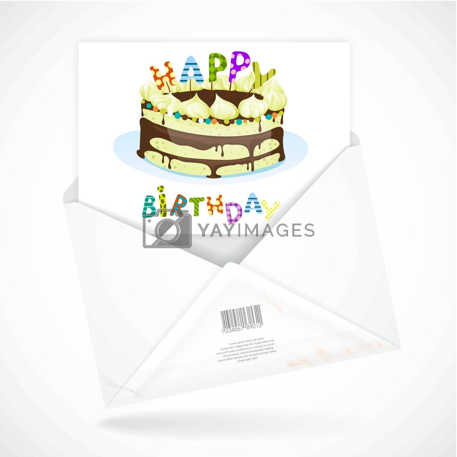 Colorful Birthday Background. Postal Envelopes With Greeting Card. Vector Illustration