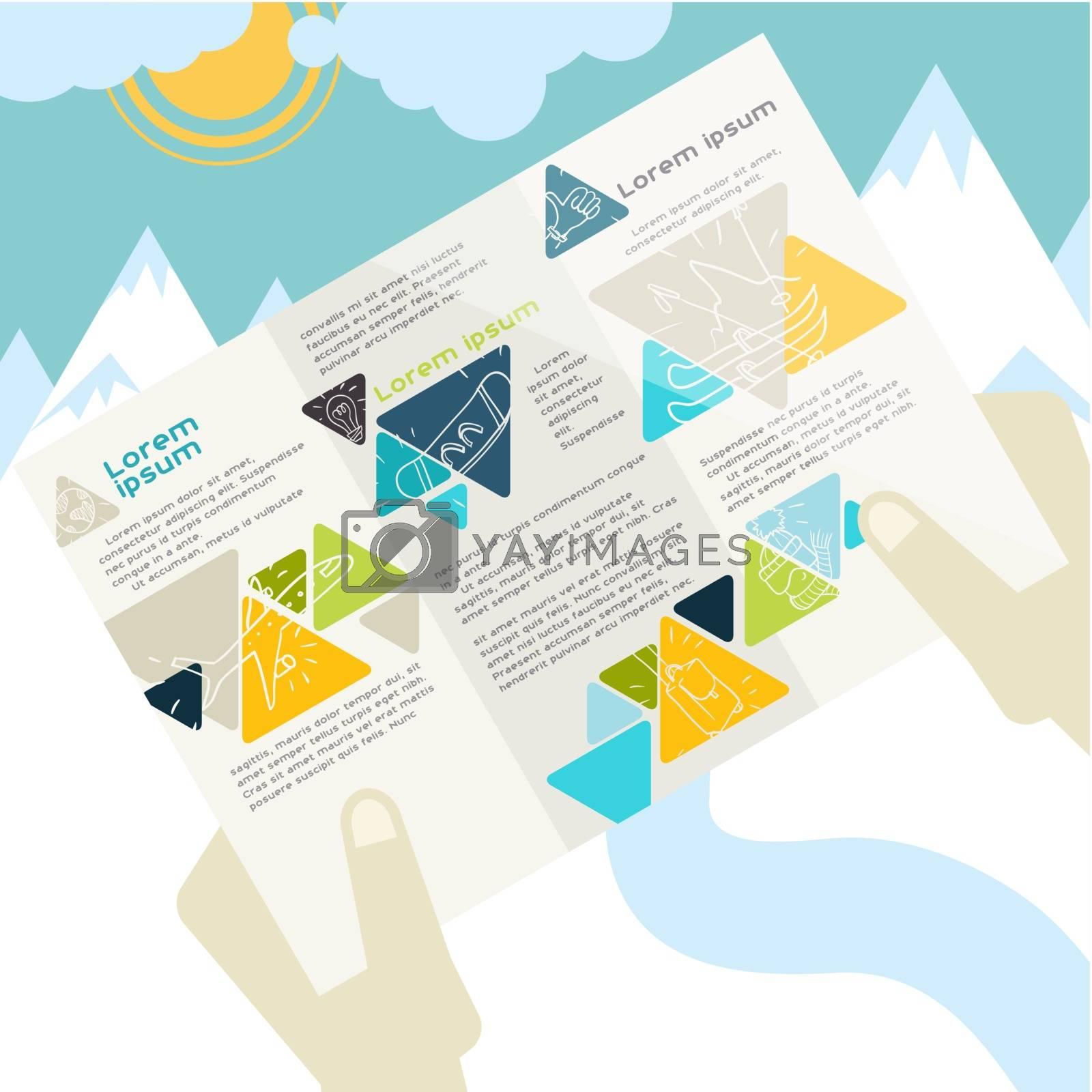Flat Design, Brochure Template. Vector Illustration. Eps 10