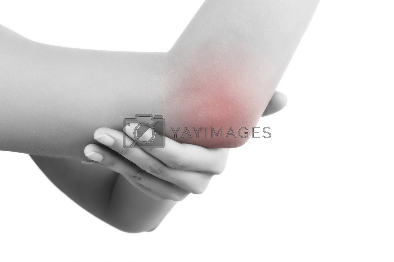 Close up on highlighted pain area, elbow pain. Female hand holding her elbow isolated on white background. Chronic pain concept.