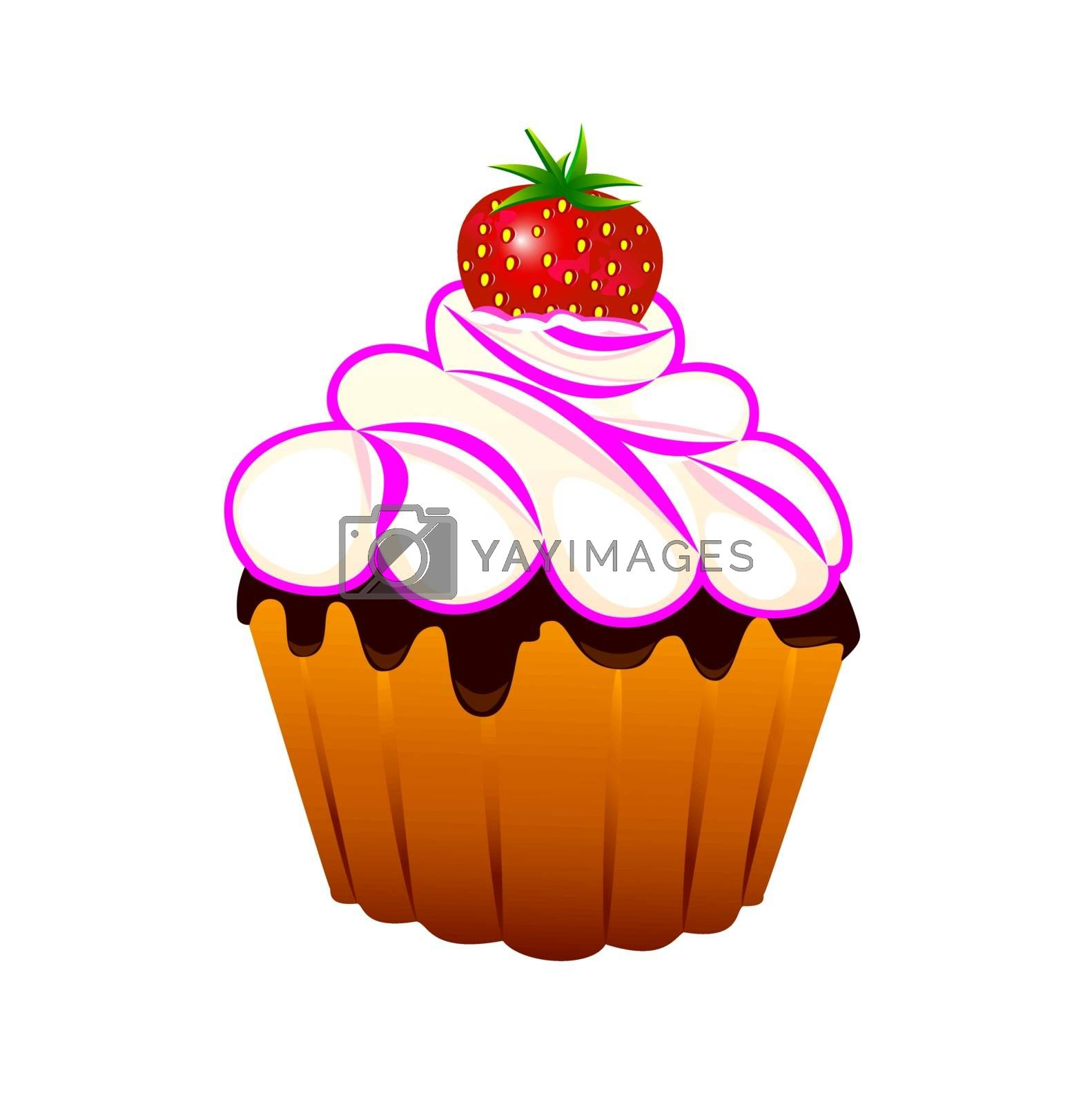 Cupcake with strawberries and cream on a white background.