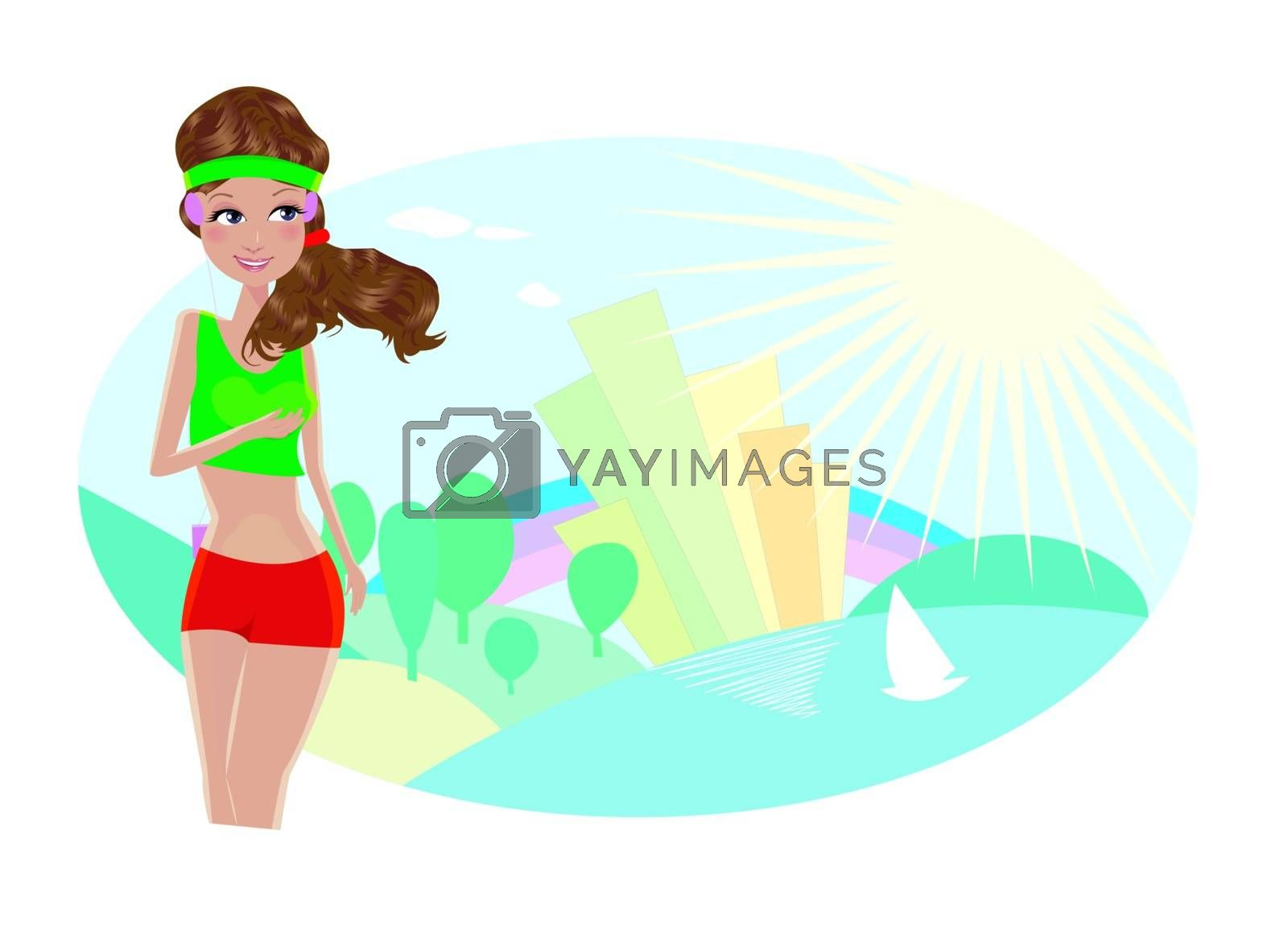 Woman jogging on a background of abstract city and landscape.