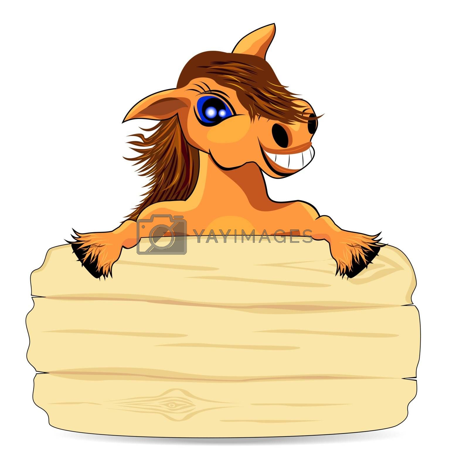 Cheerful smiling horse peeking out from behind a wooden fence.