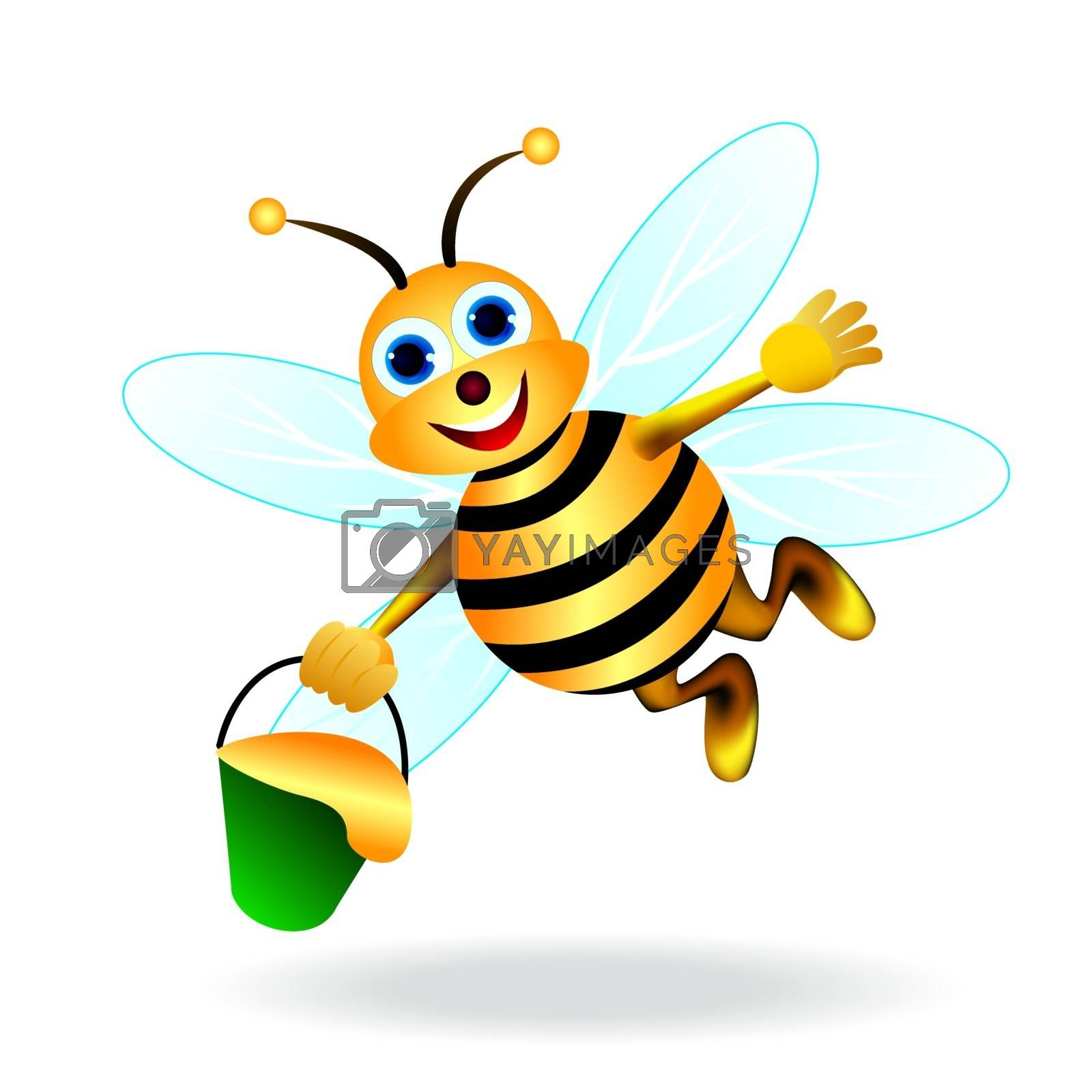 Flying bee with a bucket of honey in his hand.