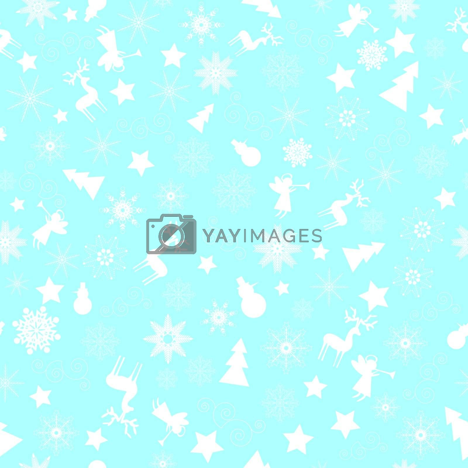 Snowflakes, Christmas decorations on blue background.
