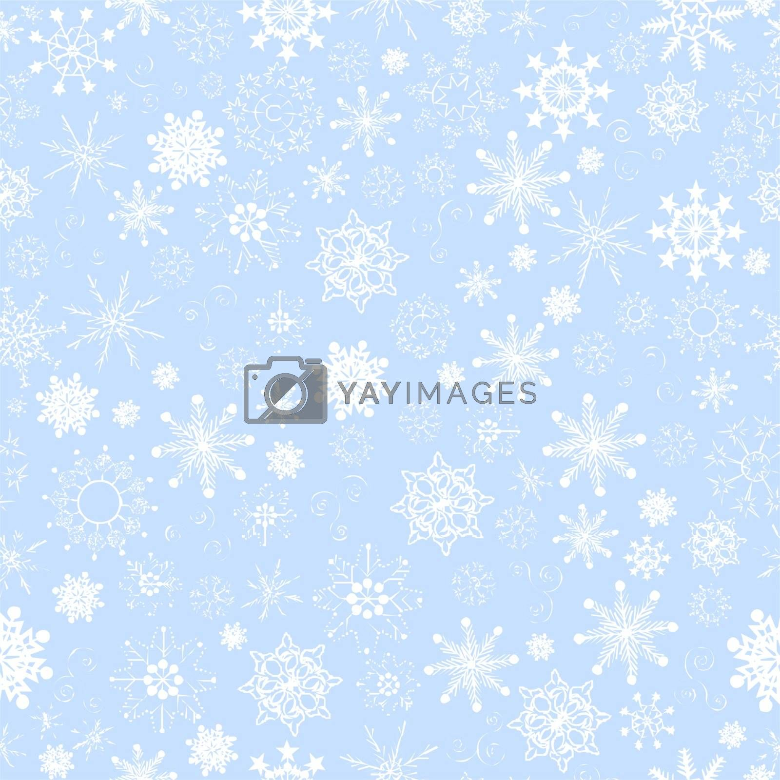Illustration of seamless snowflakes background.